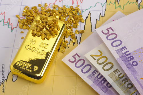 gold bar, nuggets and euro