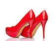 red high heel shoes