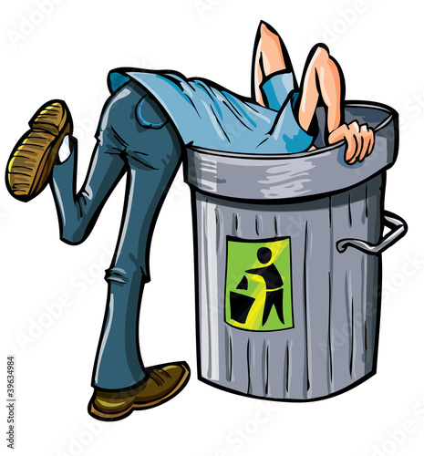 Man looking deep into a garbage can