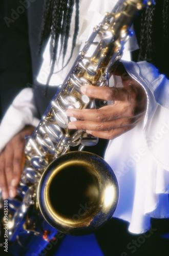 Close up of man playing saxophone