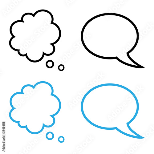 Simple cartoon speech and thought bubbles collection