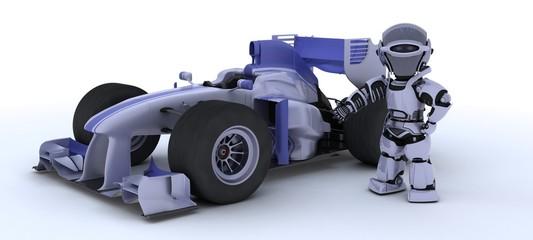 robot with a racing car