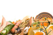Assortment of kitchen waste with space for your text