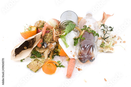 Assortment of kitchen waste waiting to be composted
