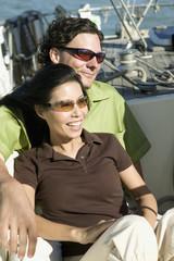 Portrait of couple on sailboat