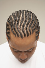 High angle view of African man with braids