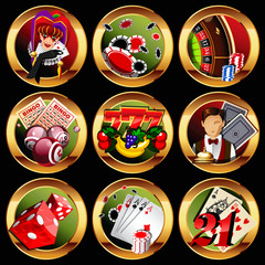 eps8 vector casino or gambling icons set