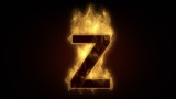 Fiery letter Z  burning in loop with particles