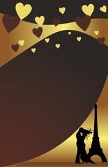 Темно-коричневая открытка с влюбленной парой