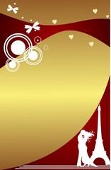 открытка с влюбленнрой парой на золотом фоне