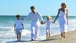 Happy Family Group Enjoying Beach Lifestyle