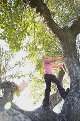 Low angle view of Hispanic girl climbing tree