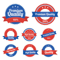 Premium Quality Labels in blue in red color
