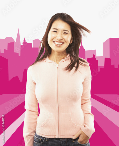 Portrait of Asian woman with hand in pocket