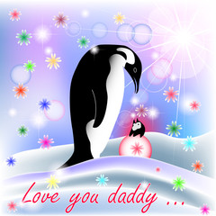 Dad and baby girl penguin with polar background