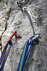 Via ferrata set on a rock