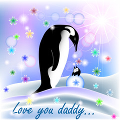 Dad and baby BOY penguin with polar background