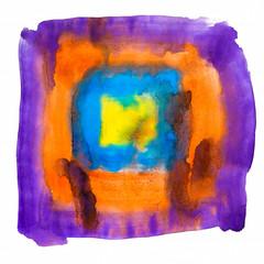 purple blue yellow orange watercolors spot blotch isolated