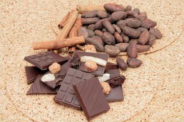 chocolat et fèves de cacao