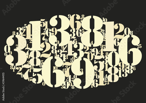 Numbers cloud gold black bg