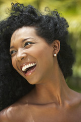 Close up of South American woman laughing