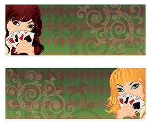 Two banner with poker girls, vector illustration