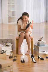 Hispanic girl at shoe store