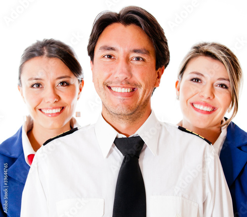 Pilot and flight attendants