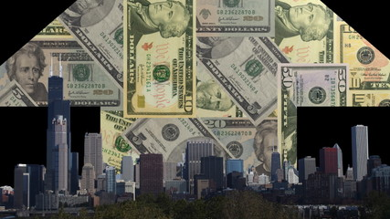 Chicago skyline with American dollars arrow animation