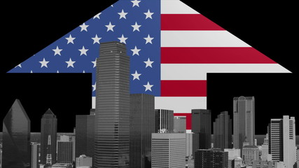 Dallas skyline with American Flag arrow animation