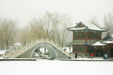 Chinese architecture in the snow