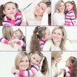 Pretty young mom and her cute little daughter, collage