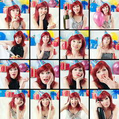 Emotional red-haired party girl, collage