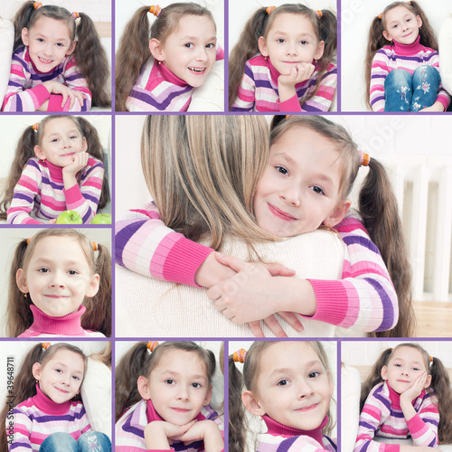 Cute caucasian 7-year old girl, collage