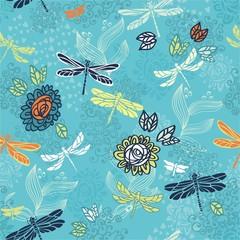 голубой бесшовный узор - цветы и стрекозы