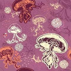 розовый бесшовный узор медузы