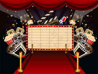 Illustration of theatre marquee with movie theme objects.