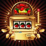 A slot fruit machine with cherry winning on cherries.