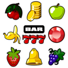 Various slot machine icons vector