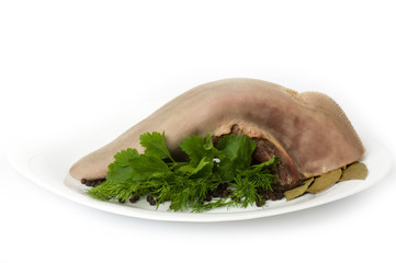 Tasty boiled beef tongue with dill