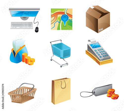 online shopping concept - icon set