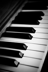 Black and white Piano close up on the keyboard