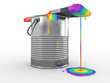 Paint can and paintbrush in colors of the rainbow