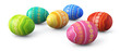 Colorful painted easter eggs spread on white background