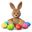 Stuffed bunny with colorful easter eggs