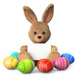 Stuffed bunny with colorful easter eggs and greeting card