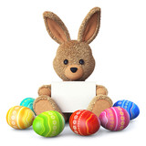 Fototapety Stuffed bunny with colorful easter eggs and greeting card