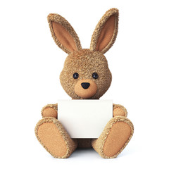 Stuffed bunny with greeting card