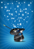 Glossy magic hat and wand in action - vector file