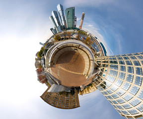 360 degrees panorama of Moscow-city, mini planet style